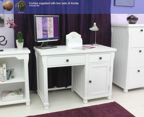 Hamilton White Single Pedestal Desk - lovefurnitureuk - 1