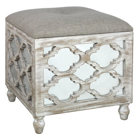 Hamlin Beach Wooden Mirrored Square Footstool