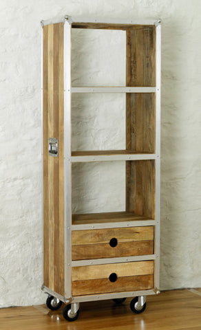 Roadie Chic Tall Wooden Bookcase With Drawers