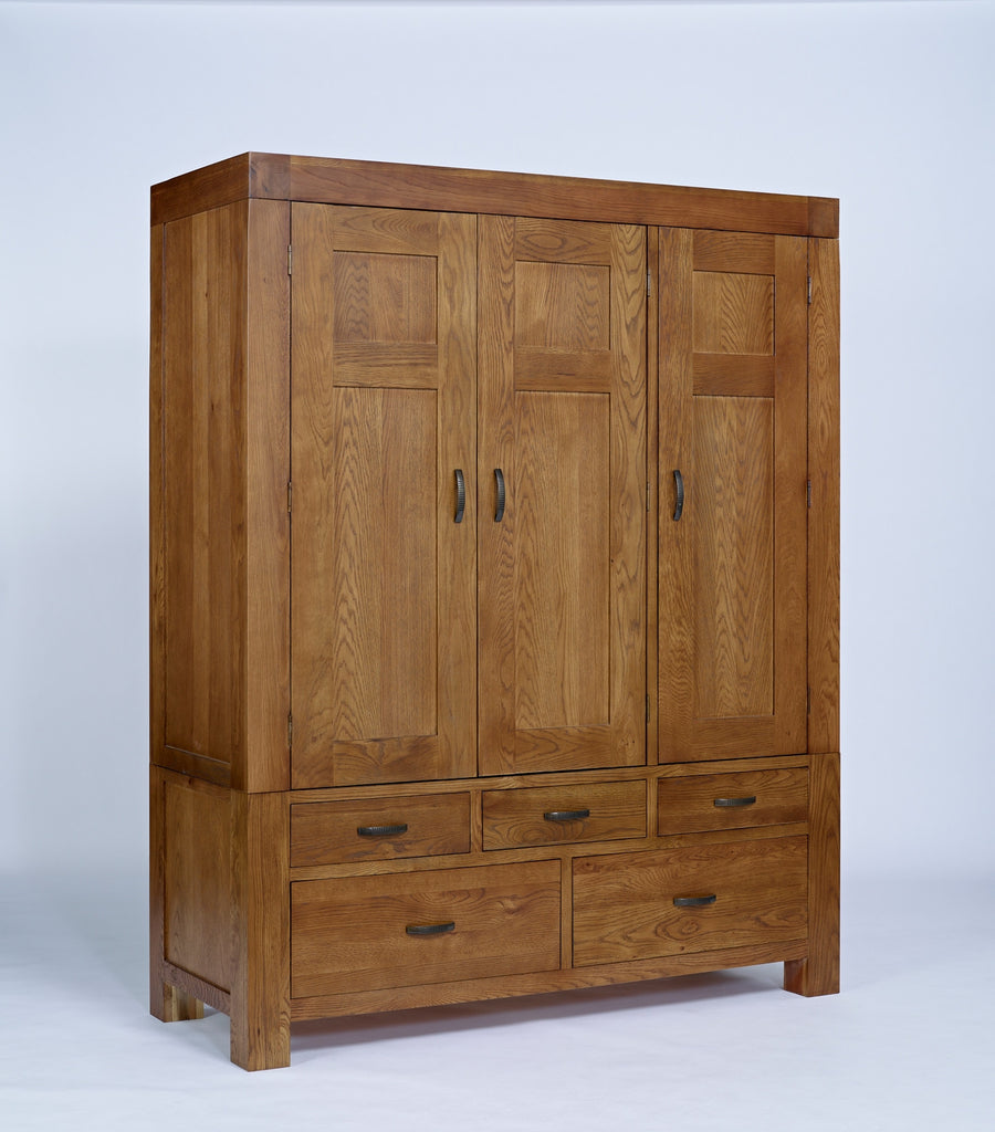 Santana Rustic Oak Triple Wardrobe - lovefurnitureuk - 1