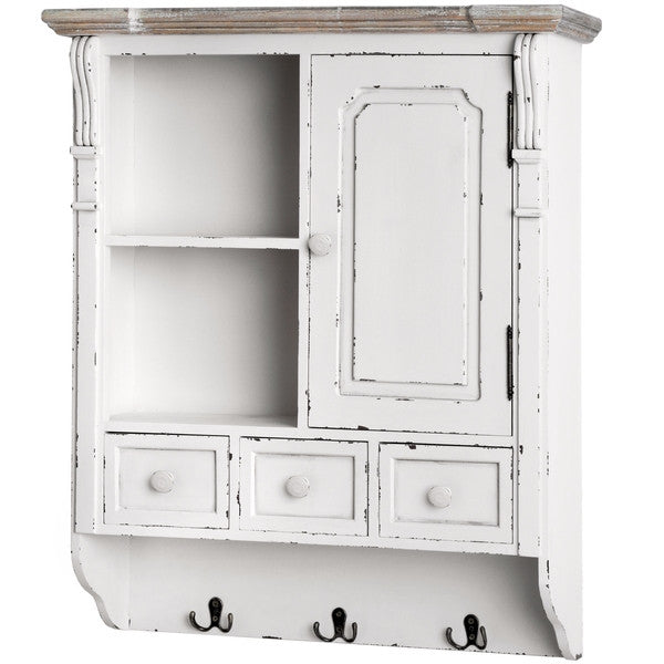 New England Shabby Chic Wall Cupboard with Hooks - lovefurnitureuk