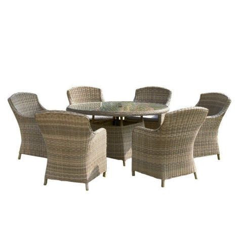 Royalcraft Wentworth 6-Seat Round Rattan Imperial Dining Set.