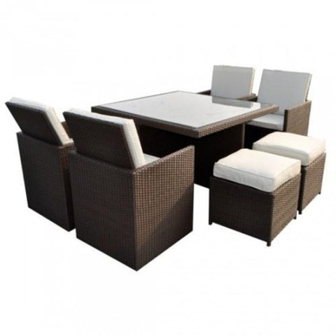 Royalcraft Cannes Mocha Brown 8 Seater Rattan Cube Set