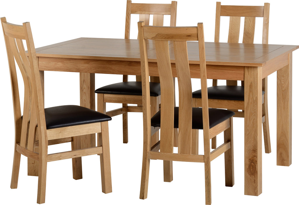 Shire Oak Dining Table Set & Four Chairs Brown - lovefurnitureuk - 1