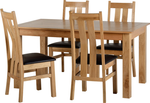 Shire Oak Dining Table Set & Four Chairs Brown