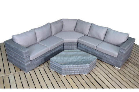 Port Royal Platinum Grey Angle Rattan Corner.