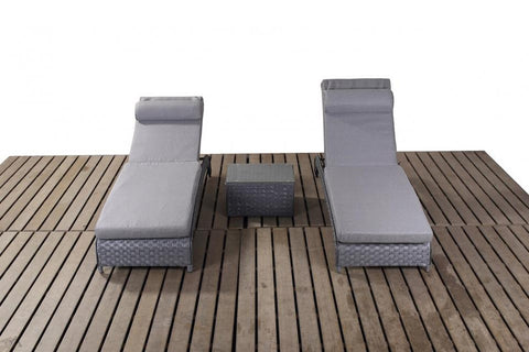 Port Royal Platinum Grey Pair Of Rattan Loungers.