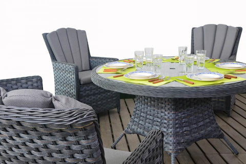 Port Royal Platinum Grey Round Rattan Dining 6.