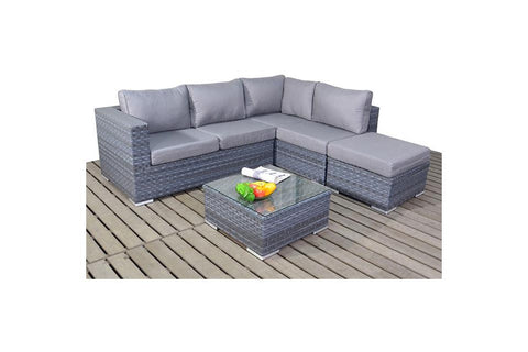 Port Royal Platinum Grey Small Right Hand Rattan Corner.