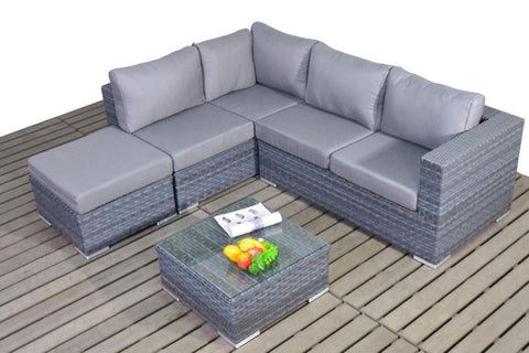 Port Royal Platinum Grey Small Rattan Left Hand Corner.