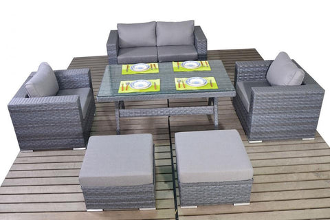 Port Royal Platinum Grey Rattan Sofa Table Set.