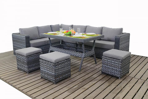 Port Royal Platinum Grey Table Rattan Left Hand Corner Sofa.