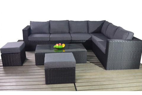 Port Royal Prestige Black Large Rattan Right Hand Corner Sofa.