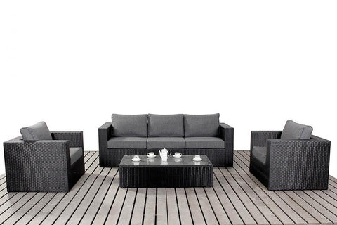 Port Royal Prestige Black Rattan Large Sofa Set.