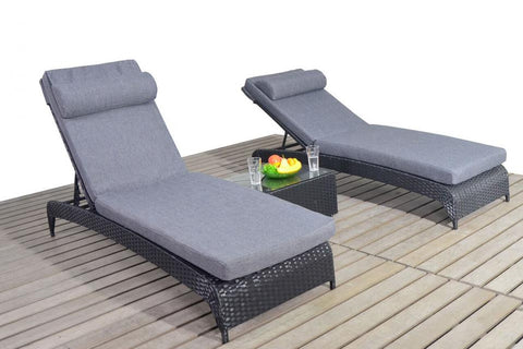 Port Royal Prestige Black Rattan Lounger.
