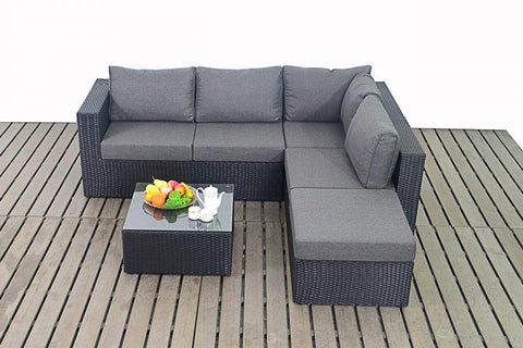 Port Royal Prestige Black Small Rattan Right Hand Corner Sofa.