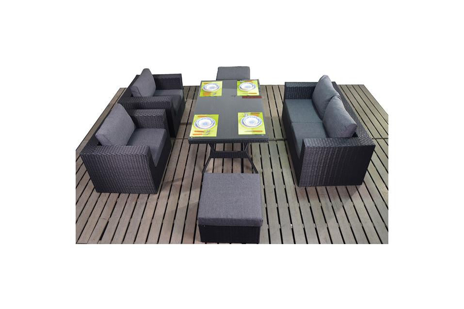 Port Royal Prestige Black Rattan Table Sofa Set.