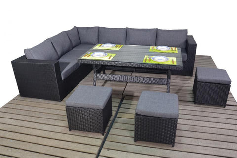 Port Royal Prestige Black Rattan Table Left Hand Corner Sofa.