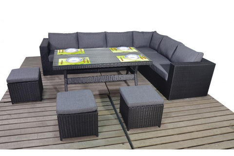 Port Royal Prestige Black Rattan Table Right Hand Corner Sofa.