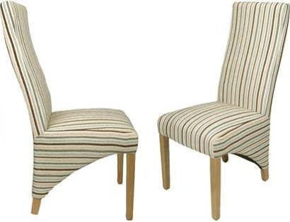 Two Shankar Baxter Stripe Duck Egg Blue Fabric Dining Chairs