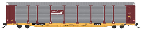 N Scale Bi-Level Auto Rack - Conrail No Quality Logo on TTGX Flat Car