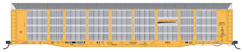 HO Scale Bi-Level Auto Rack - BNSF New Image, Small Logo on TTGX Flat Car