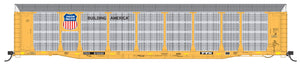 N Scale Bi-Level Auto Rack - Union Pacific Large Building America Logo on TTGX Flat Car