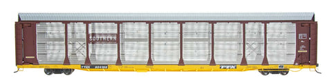 HO Scale Bi-Level Auto Rack - Southern on TTGX Flat Car