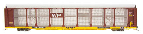 N Scale Bi-Level Auto Rack - Western Pacific on TTGX Flat Car