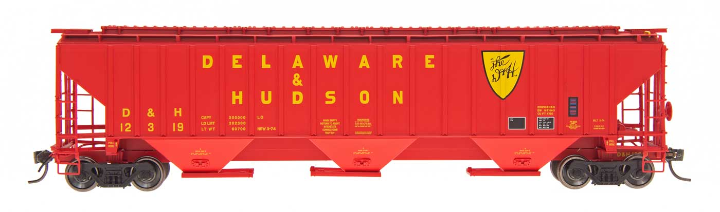 N 4750 Cubic Foot Rib-Sided 3-Bay Hopper - Delaware & Hudson
