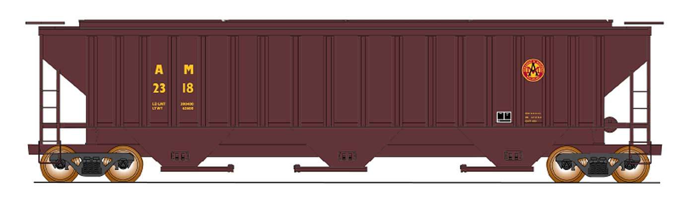4750 Cubic Foot Rib-Sided 3-Bay Hopper - AM Brown Paint