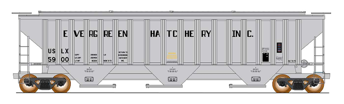 N 4750 Cubic Foot Rib-Sided 3-Bay Hopper - Evergreen Fish Hatchery