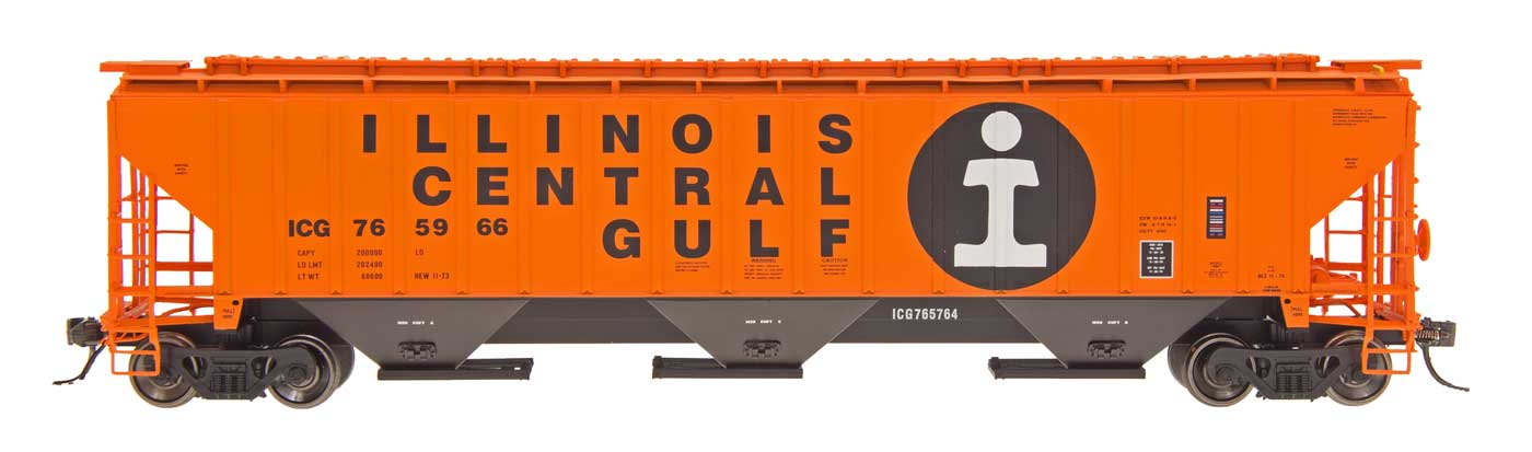4750 Cubic Foot Rib-Sided 3-Bay Hopper - Illinois Central Gulf