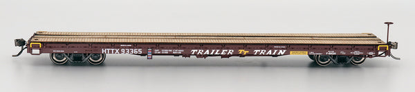60' Wood Deck Flat Car - HTTX Brown Trailer Train