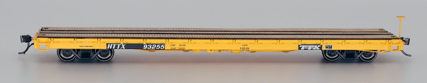 60' Wood Deck Flat Car - HTTX Yellow Trailer Train