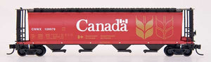 N Scale Cylindrical Covered Hoppers - Trough Hatch - Red Canada CNWX