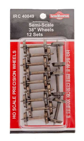"HO 38"" Wheels SEMI SCALE - 12 Axles per pack"