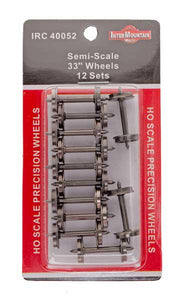 "HO 33"" Wheels SEMI SCALE - 12 Axles per pack"