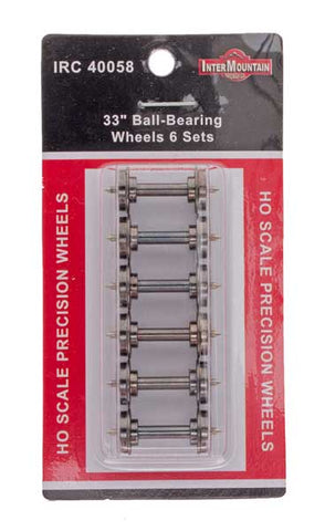 "HO 33"" Wheels BALL BEARING - 6 Axles per pack"