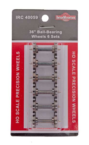 "HO 36"" Wheels BALL BEARING - 6 Axles per pack"