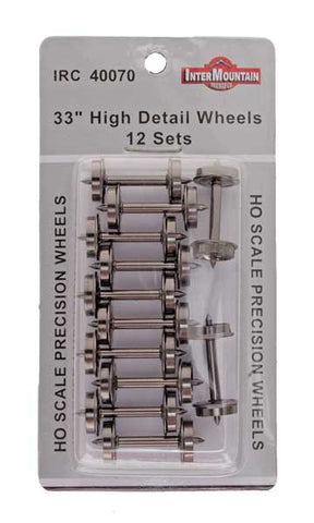 "HO 33"" Wheels HIGH DETAIL - 12 Axles per pack"