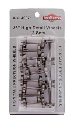 "HO 36"" Wheels HIGH DETAIL - 12 axles per pack"