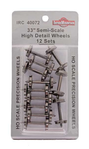 "HO 33"" Wheels HIGH DETAIL SEMI SCALE - 12 Axles per pack"