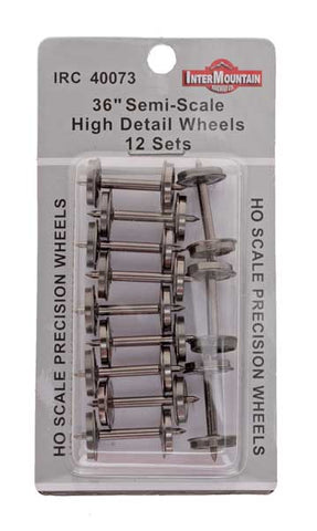 "HO 36"" Wheels HIGH DETAIL SEMI SCALE - 12 axles per pack"