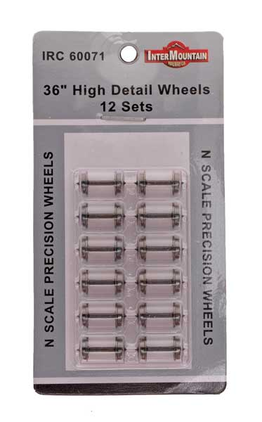 "N Scale 36"" Wheels HIGH DETAIL - 12 Axles per pack"