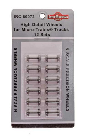 N Scale Wheels for Micro-Trains Trucks HIGH DETAIL - 12 Axles per pack