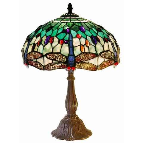 Tiffany Style White DragonflyTable Lamp
