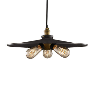 Lorena 3-light Black Adjustable Height 16-inch Edison Pendant with Bulbs