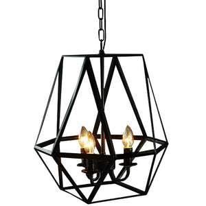 Lee 3-light Antique Bronze Geometric Edison Chandelier with Bulbs