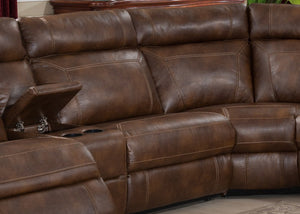 Brown 6pc Reclining Polyesther Living Room Sectional